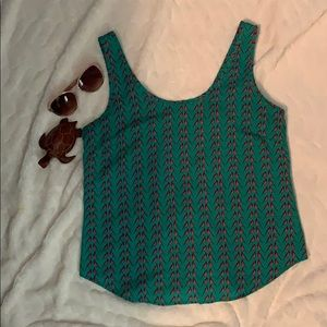 B Jewel Turquoise and Birds Zip Back Tank Top